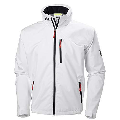 Helly Hansen Men's Crew Hooded Waterproof Windproof Breathable Rain Coat Jacket, 001 White, X-Large