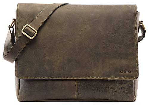 LEABAGS Oxford Umhängetasche Laptoptasche 15 Zoll aus Leder im Vintage Look, Green Olive,