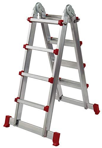Homelux 825038 multifunctionele ladder, aluminium, 2 x 4 treden, 10,5 kg