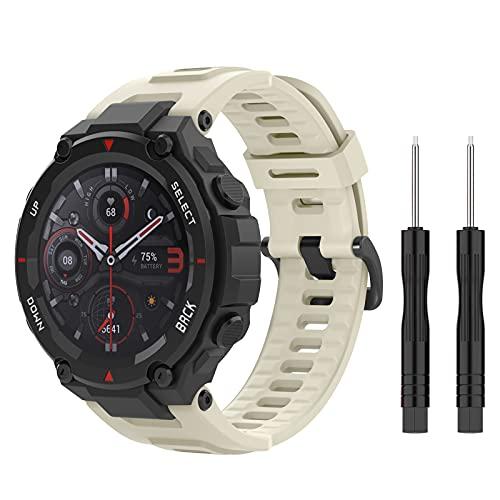 MoKo Correa Compatible con Huami T-Rex/T-Rex Pro Smartwatch Reloj, Pulsera de Repuesto Deportiva de Silicona Suave con Herramientas, Beige