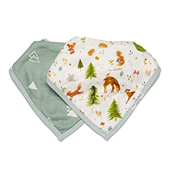 Loulou Lollipop Soft Breathable and Absorbent Muslin Bandana Bib Drool Bib Set for Baby Girl and Boy Adjustable 3 to 36 Months 2 Pack - Forest Friends