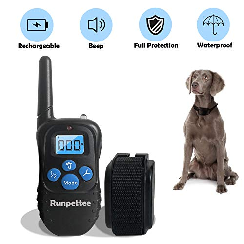 Runpettee Dog Training Collar Rechargeable Rainproof 330 yd Remote Dog Training Shock Collar -Vibration, Shock and Tone with Backlight LCD,Vibra Shock Electronic Collar