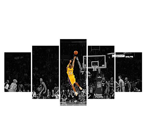 Kobe Bryant of Lakers at Staples Center in Los Angeles Poster Wall Decor Canvas Sports Wall Art for Bedroom Living Room Home Wall Pictures Frameless 5 Piece -50'W x 24'H