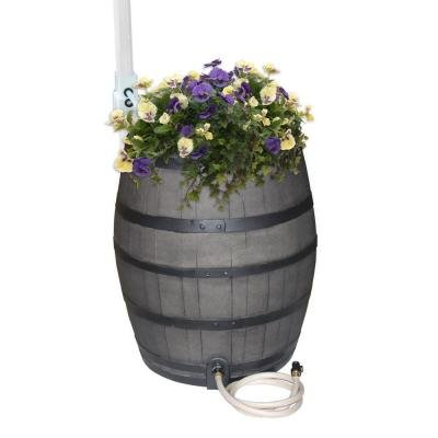 50 Gallon Gray Flatback Whiskey Rain Barrel with Integrated Planter and Diverter System