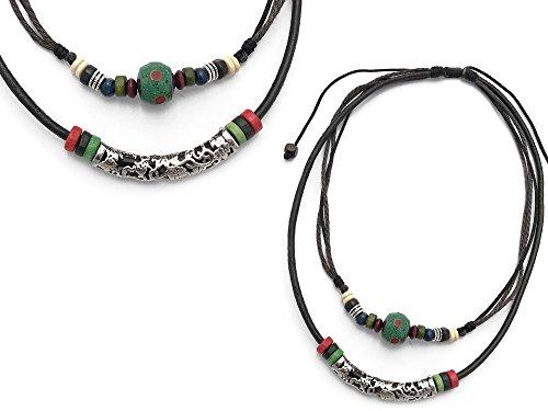 Agathe creation 'C1416 Collana Multi legame tibetano ciondolo OM–portafortuna–fatto a mano