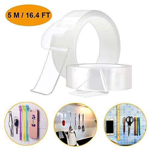 両面テープ 超強力 魔法透明テープ のり残らず 繰り返し 防水 耐熱 強力 滑り止め 洗濯可能 多機能 多サイズ 家庭 オフィス 寮 学校 会社 工業用など (3cmx2mmx5m)