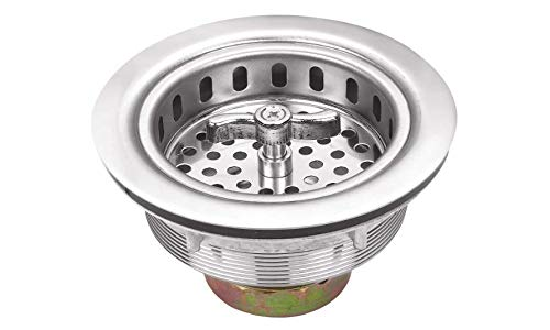 3-1/2 inch Kitchen Sink Basket Strainer with drain assembly, Replacement for standard drains, Stainless Steel Twist Lock Sink Stopper