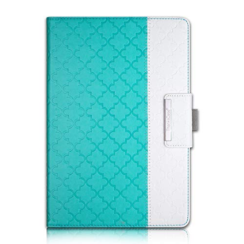 Thankscase Case for Galaxy Tab S4 10.5, Rotating Case Leather Cover with S Pen Holder, Wallet and Card Slots for Samsung Galaxy Tab S4 10.5 2018 Model SM-T830/T835/T837-Mint Quatrefoil