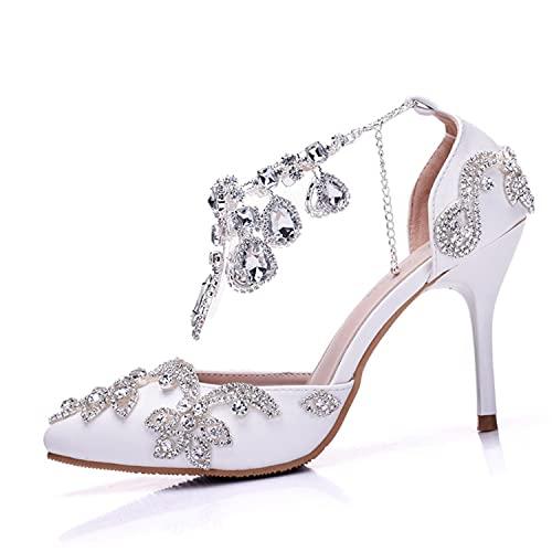 XILANPU Zapatos De Boda para Mujer, Punta Puntiaguda Blanca De 9 Cm...