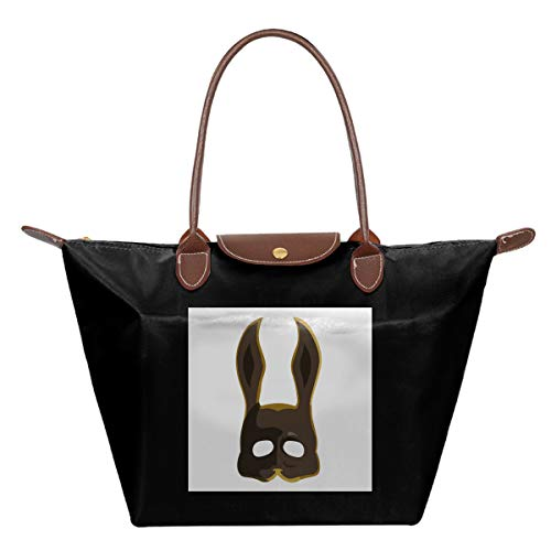UGHUIHG Braune Splicer Bunny Maske Bioshock Wasserdichte Leder Faltbare Messenger Nylon Tasche Reise Tote Hopping Faltbare Schule Handtasche