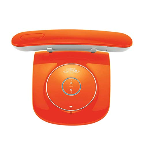 Teléfono LCSHAN Retro Vintage inalámbrico Fijo Conveniente de la Oficina inalámbrica Creativa (Color : Orange)