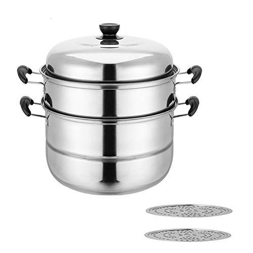 EOVL Vaporera Olla para sopa,Olla Universal,Ollade Gran Capacidad,antiadherente tricapa reforzado,fondo de gran espesor, aptas para todo tipo de cocinas, incluso inducción,32CM