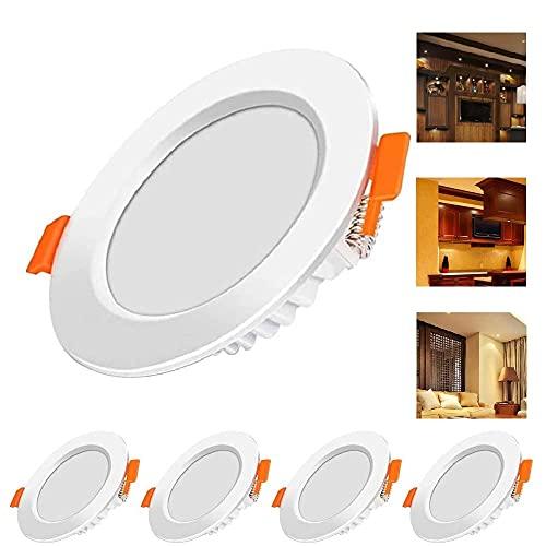 LED Einbaustrahler Flach 230V,5er Set 6W Einbauleuchten Ultra flach Deckeneinbauleuchte IP44 LED Spots 230V Flach Einbauspots für Wohnzimmer, Schlafzimmer [Energieklasse A++]