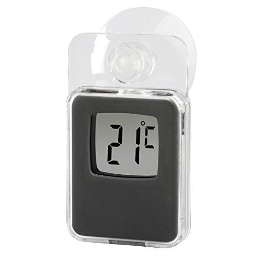 Hama Fenster-Thermometer mit Saugnapf (digital, einsetzbar als Innen- oder Außen-Thermometer, wetterfest, transparent) grau