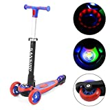 SANSIRP Kick Scooter for Kids,Aluminum Toddler 3 Wheel Scooter Adjustable Handle Polishing with LED Wheels Best for Little Boys & Girls from 2 to 12 Year-Old