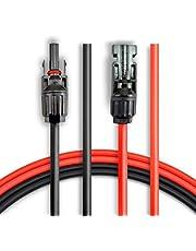 ANFIL 3M/10 pies de 4mm2/12AWG Cable de Extensión del Panel Solar, con conectores MC4 hembra y macho Kit de Herramienta para el Adaptador (10 pies rojo + 10 pies negro)