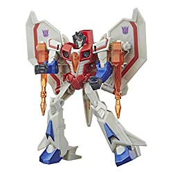13.5-cm Starscream figure: Warrior class Starscream figure is 13.5-cm tall Repeatable attack move: Convert the evil Starscream to activate his signature Starseeker Missile move. This fun attack move can be repeated through easy reactivation steps 2-i...