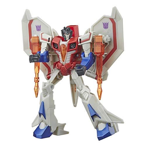 TRANSFORMERS Bumblebee Cyberverse Adventures Action Attackers Warrior Class Starscream Action Figure, Starseeker Missile Move, 13.5-cm
