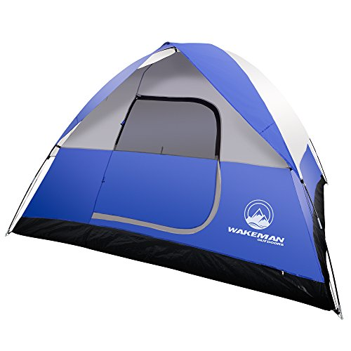 6-Person Tent, Water Resistant Dome Tent for Camping with Removable Rain Fly and Carry Bag, Rebel Bay 6 Person Tent by Wakeman Outdoors (Blue)