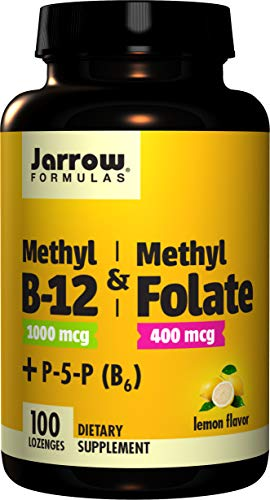 Jarrow Methyl B-12/Methyl Folate and Pyridoxal-5-Phosphate (P-5-P) Lozenges, Supports Brain Health, 100 Count, 1 Units, Green, 8, BMF14