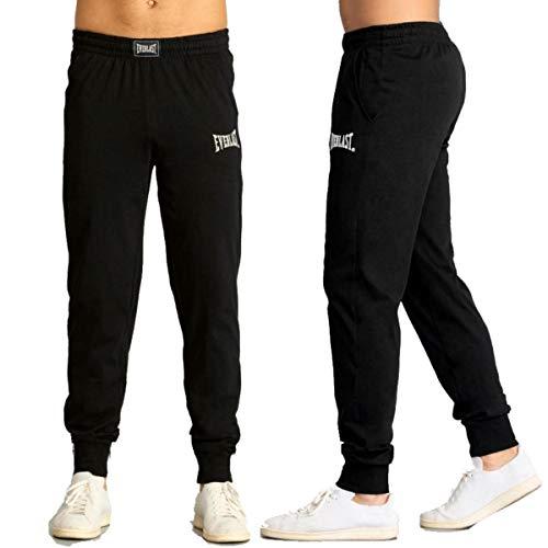 Everlast Pantalone Tuta Uomo Sportivo Pantaloni Cotone Jogging Non Felpato Nero (M)