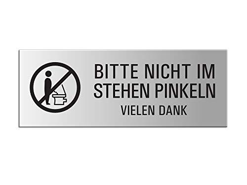Schild - Bitte nicht im Stehen pinkeln | Aluminium silber matt eloxiert | 175x65 mm selbstklebend Nr. 31054-E