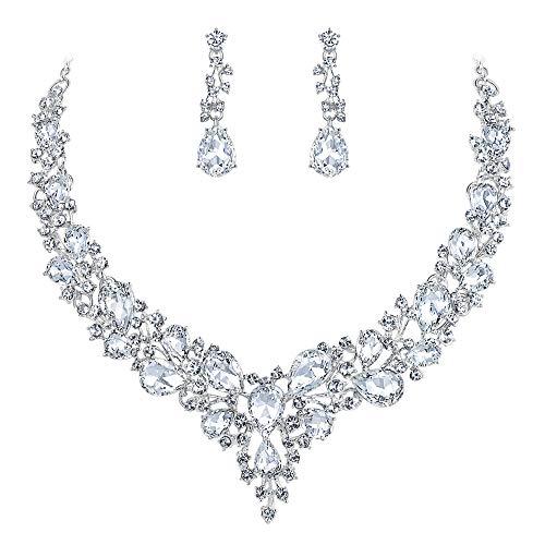Clearine Damen Hochzeit Braut Österreichen Kristall Tropfen Cluster Statement Halskette Dangle Ohrringe Schmuck Set Klar Silber-Ton A