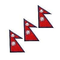 WAPPEN/アイロン貼付ワッペン 世界の国旗/フラッグ SSサイズ (ネパール(3枚セット))