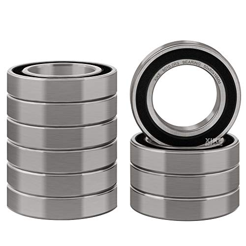 XiKe 10 Pcs 6010-2RS Double Rubber Seal Bearings 50x80x16mm, Pre-Lubricated and Stable Performance and Cost Effective, Deep Groove Ball Bearings.
