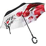 Umkehrregenschirm Valentine 's Day Love Unique Umkehrregenschirm Reversible Outdoor Black