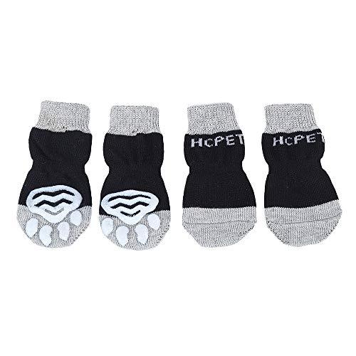 Hcpet Anti-Rutsch Hund Socken, Set of 4 Hundesocken für Innenbereich, Pfotenschutz für klein und Mittel Hund (Schwarz, S)