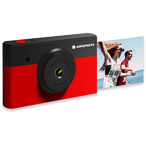 AGFA Foto Realipix Mini S - Fotocamera istantanea (foto 5,3 x 8,6 cm - 2,1 x 3,4 , 10 MP, schermo LCD da 1,7 , Bluetooth, batteria al litio, Sublimazione Termica 4 pass), colore: Nero e Rosso