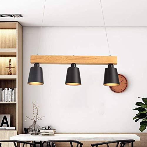 Lampara colgante LED mesa de comedor madera 3 llamas blanco calido lampara de mesa de comedor ajustable en altura para comedor sala de estar oficina cafeteria restaurante, negro, bombillas E27 incl.