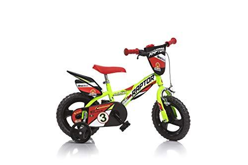 Bicicleta Infantil Niño Chico 12 Pulgadas Raptor Freno al Manillar Ruedas Extraibles Amarillo