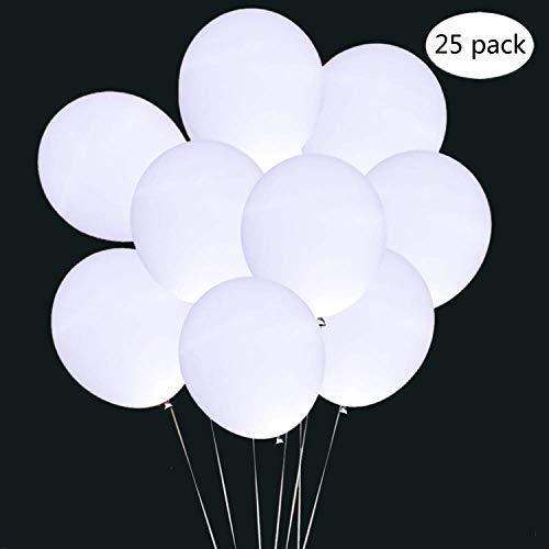Eatopo 25 Stücke LED Luftballons Weiß Lighting Ballons Partyballon Spielzeug für Hochzeit Leuchtend Dekor Geburtstage Party Feiern Dekorationen Valentinstag
