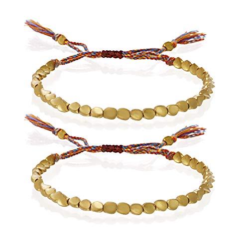 SOOWOOT Handmade Tibetan Copper Bead Bracelet- Buddhist Braided Cotton Bracelet Lucky Rope Bracelet Apply to Women and Men.