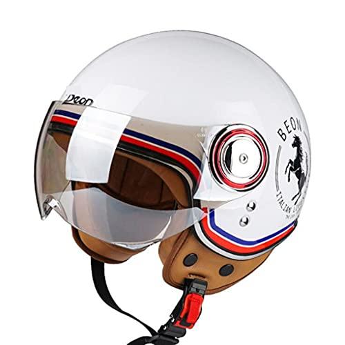 DXMRWJ Hombres Y Mujeres Vintage Casco de Moto ECE Homologado Casco Adultos Half-Helmet de Motocicleta Coche eléctrico Cascos Abiertos Scooter Jet Casco for Ciclomotor Crucero Retro Medio Casco