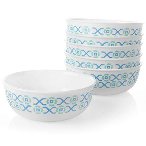 Corelle Chip Resistant Soup and Cereal Bowls, 6-Piece, Amalfi Verde