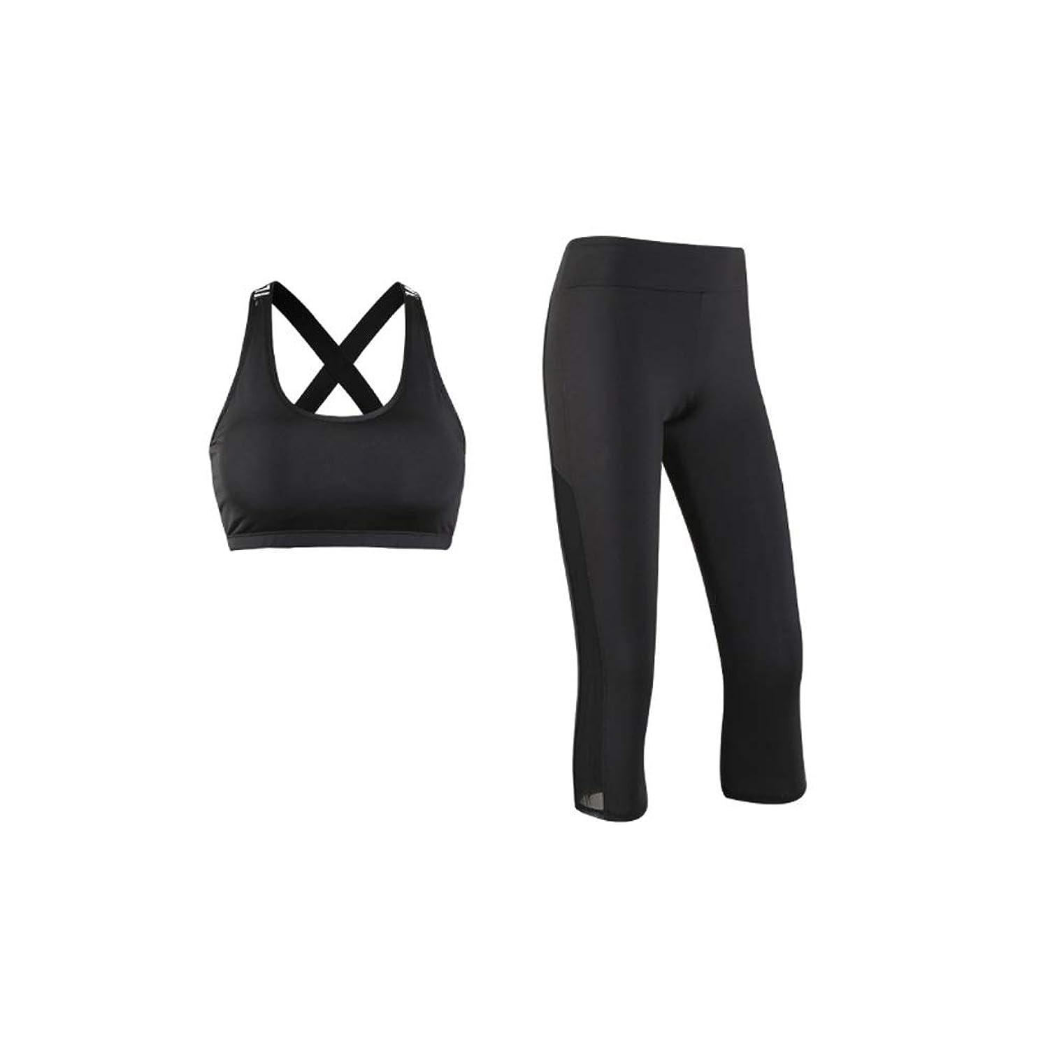 遠足手当怒るツーピースの婦人用スポーツウェア速乾性スポーツベストズボンフィットネススーツ (Color : Black, Size : XL)