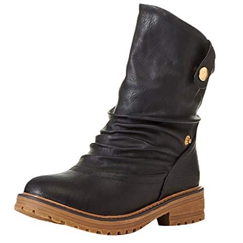 DOLDOA Bequeme Stiefelette aus Rindsleder Reitschuh mit robuster Gummisohle und Innenleder | Schuh Schlupf Stiefel in Größen 35-43