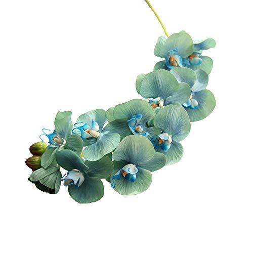 Momangel - 1 pieza de flores artificiales para orquídeas de jardín con aspecto real rosas falsas para bricolaje ramos de boda, centros de mesa, decoración para el hogar, plástico, Azul