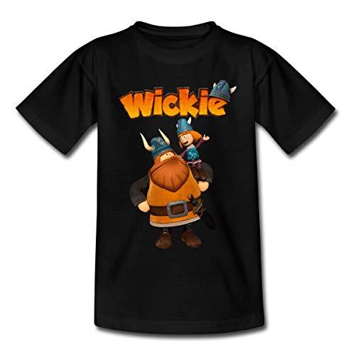 Wickie Und Die Starken Männer Wickie & Halvar Kinder T-Shirt, 98-104, Schwarz