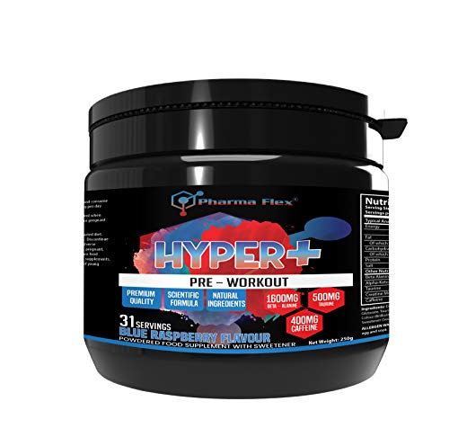 Hyper+ High Strength Pre-Workout Supplement (Blue Raspberry Flavour) with Creatine Monohydrate, Beta Alanine, Taurine, Caffeine, Alpha-Keto-Glutarate for Increases Energy and Power Performance