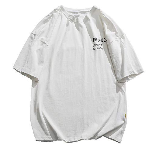 Sommer bedruckt Kurzarm Damen T-Shirt Trend Loose Style Halbarm Weiß T-Shirt Gr. M, weiß