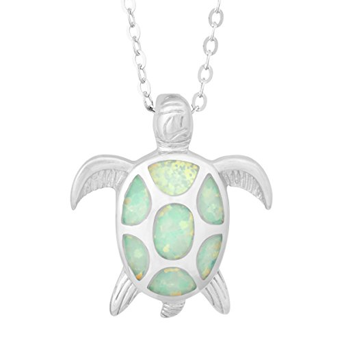 """Beaux Bijoux Sterling Silver Created White Opal Turtle Pendant with 18"""" Chain"""