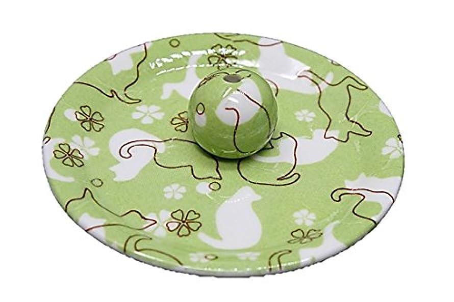 びっくりするポルトガル語ロッカー9-47 ねこランド(グリーン) 9cm香皿 日本製 お香立て 陶器 猫柄
