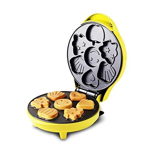 JUNJIJINGXIANG Mini Fabricante de gofres Eléctrica Wafflera - Inicio Galleta Que Hace la máquina Hace 6 Bandeja de Horno Forma de Dibujos Animados Waffles (Color : 100-120v)
