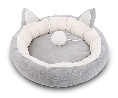 Supremery Cama para gatos mullida con cojín interior suave (lavable) – Caseta para mascotas, cesta para gatos, perros, cueva para gatos y perros pequeños y medianos