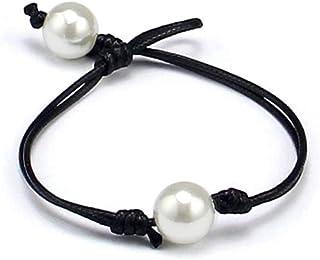 Fuqimanman2020 Single Handmade Leather Pearl Bracelet Necklace Jewelry Set