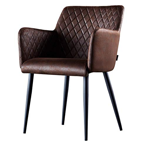 Damiware Rose Stuhl | Design Wohnzimmerstuhl Esszimmerstuhle Bürostuhl mit Leder-Optik Stoffbezug | (Burgundy)